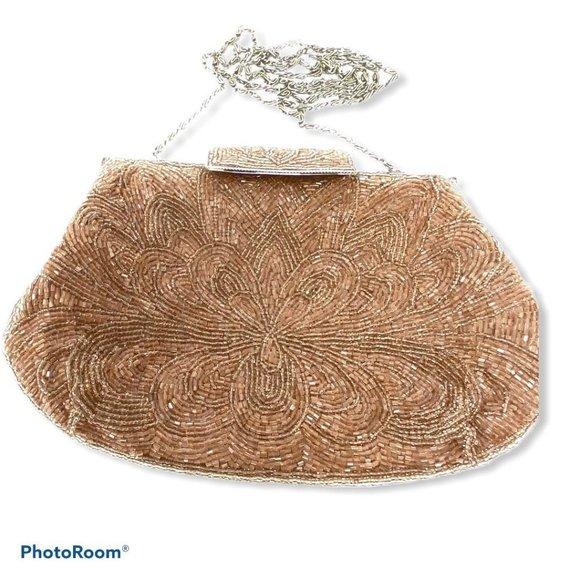 Lord & Taylor Handbags - Lord & Taylor Beaded Clutch Crossbody Evening Bag